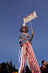 War protesters Man on Stilts at Gas Works Park Seattle protesting the US involvement in Persian Gulf January 15 deadline 1991 Seattle Washington State USA