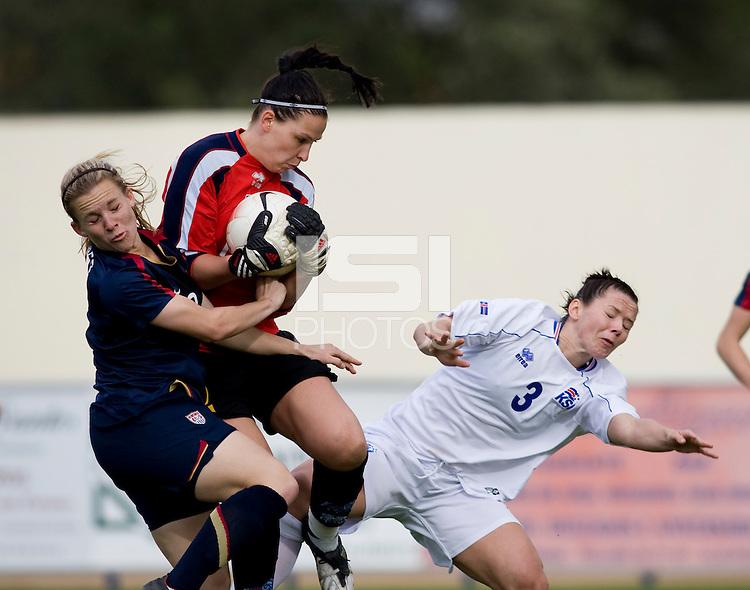 Amy Rodriguez, Gudborg Gunnarsdottir, Olina Gudbjorg Vidarsdottir.  The USWNT defeated Iceland, 1-0, at Ferreiras, Portugal.