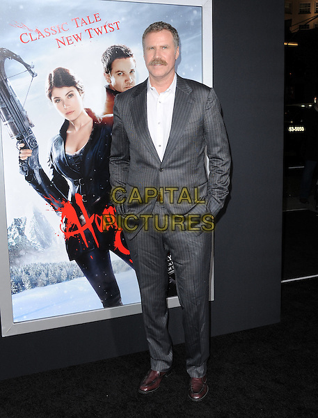 Will Ferrell.attending the Paramount Los Angeles film premiere of 'Hansel and Gretel: Witch Hunters', held at The Grauman's Chinese Theater in Hollywood, California, USA, January 24th 2013..full length suit hands in pockets brown shoes grey gray moustache mustache facial hair jacket plaid jacket white shirt                                          .CAP/DVS.©Debbie VanStory/Capital Pictures.