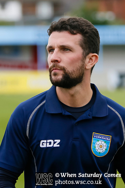 Ryan Farrell Yorkshire Head Coach. Yorkshire v Parishes of Jersey, CONIFA Heritage Cup, Ingfield Stadium, Ossett. Yorkshire's first competitive game. The Yorkshire International Football Association was formed in 2017 and accepted by CONIFA in 2018. Their first competative fixture saw them host Parishes of Jersey in the Heritage Cup at Ingfield stadium in Ossett. Yorkshire won 1-0 with a 93 minute goal in front of 521 people. Photo by Paul Thompson