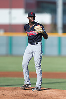 AZL Indians 1 starting pitcher Tahnaj Thomas (40) during an Arizona League game against the AZL Cubs 1 at Sloan Park on August 27, 2018 in Mesa, Arizona. The AZL Cubs 1 defeated the AZL Indians 1 by a score of 3-2. (Zachary Lucy/Four Seam Images)