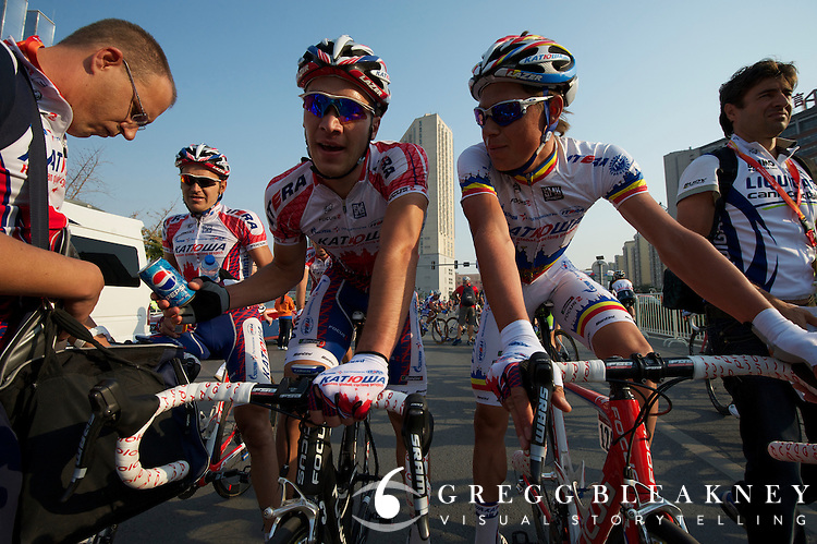 After the stage, Denis Galimzyanov thinks he had the win. 2011 Tour of Beijing Stage 2