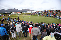 Saturday 30th May 2015; The large crowd around the 10th green welcome Graeme McDowell, Northern Ireland, and Jaco Van Zyl, South Africa.<br /> <br /> Dubai Duty Free Irish Open Golf Championship 2015, Round 3 County Down Golf Club, Co. Down. Picture credit: John Dickson / SPORTSFILE