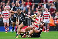 Picture by Alex Whitehead/SWpix.com - 30/09/2017 - Rugby League - Betfred Super League Million Pound Game - Leigh Centurions v Catalans Dragons - Leigh Sports Village, Leigh , England - Leigh's Ryan Hampshire is tackled by Catalans' Greg Bird and Lewis Tierney.
