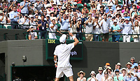 Roberto Bautista Agut (ESP) celebrates after winning his match against Guido Pella (ARG) in their Gentleman's Singles Quarter Final match<br /> <br /> Photographer Rob Newell/CameraSport<br /> <br /> Wimbledon Lawn Tennis Championships - Day 9 - Wednesday 10th July 2019 -  All England Lawn Tennis and Croquet Club - Wimbledon - London - England<br /> <br /> World Copyright © 2019 CameraSport. All rights reserved. 43 Linden Ave. Countesthorpe. Leicester. England. LE8 5PG - Tel: +44 (0) 116 277 4147 - admin@camerasport.com - www.camerasport.com