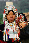 Portrait of Akha woman with a child, Thailand
