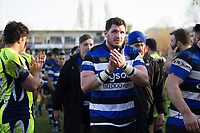 James Phillips of Bath Rugby celebrates after the match. Aviva Premiership match, between Bath Rugby and Sale Sharks on February 24, 2018 at the Recreation Ground in Bath, England. Photo by: Patrick Khachfe / Onside Images