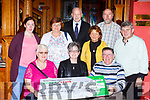 Castleisland tea dance committee presented the proceeds of their dance to the Cork Kerry Health link bus in the River Island Hotel on Friday evening Margaret Fleming, Breda Dyland, Dan Fleming, back row: Trish Kelly, Margaret Coffey, Willie Buckley, Sheila O'Grady, James Kelliher, and Eddie Lee