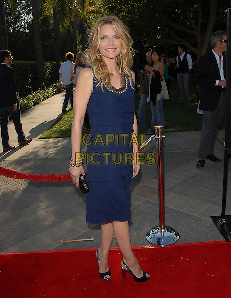"""MICHELLE PFEIFFER .at The Paramount Pictures L.A. Premiere of """"Stardust"""" held at Paramount Studios in Hollywood, California, USA,.July 29 2007..full length navy blue dress ruffles layers peep-toe shoes gold studs studded neckline                                        .CAP/DVS.©Debbie VanStory/Capital Pictures"""