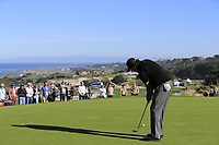 Phil Mickelson (USA) birdie putt on the 2nd green at Spyglass Hill during Thursday's Round 1 of the 2018 AT&amp;T Pebble Beach Pro-Am, held over 3 courses Pebble Beach, Spyglass Hill and Monterey, California, USA. 8th February 2018.<br /> Picture: Eoin Clarke | Golffile<br /> <br /> <br /> All photos usage must carry mandatory copyright credit (&copy; Golffile | Eoin Clarke)