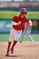 Clearwater Threshers Mickey Moniak (2) running the bases during a game against the Lakeland Flying Tigers on May 2, 2018 at Spectrum Field in Clearwater, Florida.  Clearwater defeated Lakeland 7-5.  (Mike Janes/Four Seam Images)