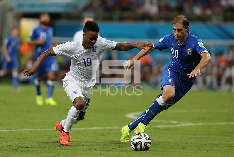 "England""s Raheem Sterling Beats Italy's Gabriel Paletta"