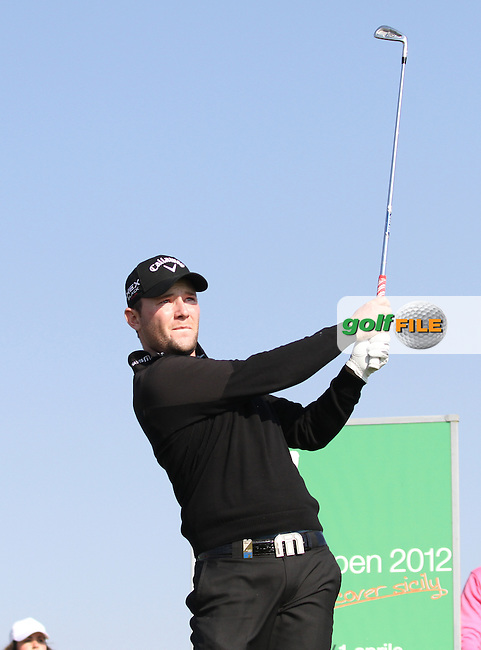 Branden Grace (RSA) on the 16th tee on Day 2 of the 2012 Sicilian Open at Verdura Golf and Spa Resort, Sicily, Italy...(Photo Jenny Matthews/www.golffile.ie)