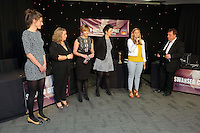 Pictured: Kev Johns (R) with Kate Rees (2nd L) Thursday 08 April 2016<br />Re: Zimkids dinner at the Liberty Stadium, Swansea, UK
