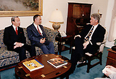 United States President Bill Clinton, right, discusses the situation in Bosnia at a White House meeting with US Secretary of State Warren Christopher, left, and Foreign Minister Andrei Kozyrev of Russia, center, in Washington, DC on May 21, 1993<br /> Credit:  White House via CNP