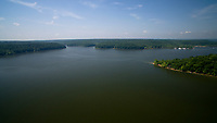 Lake Monroe is pictured from the air near Bloomington, Indiana on Sunday, May 27, 2018. (Photo by James Brosher)