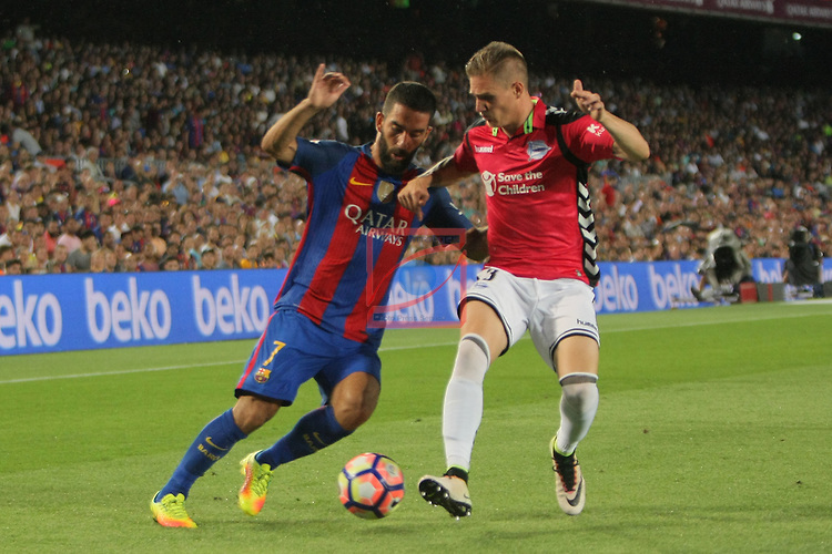 League Santander 2016/2017. Game: 3.<br /> FC Barcelona vs Deportivo Alaves: 1-2.<br /> Arda Turan vs Raul.