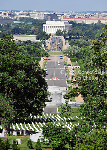 View of the Lincoln Memorial looking across Arlington Memorial Bridge from the Arlington House, also known as the Custis-Lee Mansion, in Arlington, Virginia on Thursday, June 10, 2010..Credit: Ron Sachs / CNP.