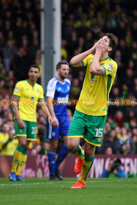 Timm Klose of Norwich City holds his head as his effort misses the target during Norwich City vs Ipswich Town, Sky Bet EFL Championship Football at Carrow Road on 26th February 2017
