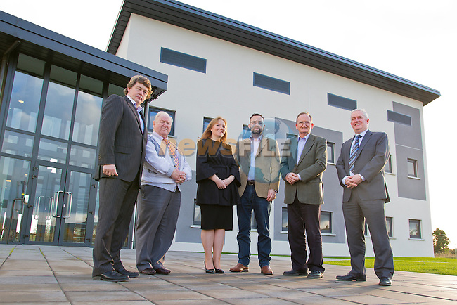 The Mill, Enterprise Centre, in Drogheda, is visited by Deirdre Ann Roche and Stephen Johnston, of IFS.<br /> Pictured, Left to right, are Mark Markey, Eugene Kierans, Deirdre Ann Roche, Graham O Rourke, Sean MacEntee and Stephen Johnston.<br /> Picture: Shane Maguire / www.newsfile.ie
