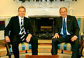 Washington, D.C. - July 28, 2006 -- United States President George W. Bush and Prime Minister Tony Blair of Great Britain hold discussions in the Oval Office in the White House on July 28, 2006.  They discussed ideas to broker a cease-fire between Israel and Hezbollah in Lebanon..Credit: Ron Sachs / CNP