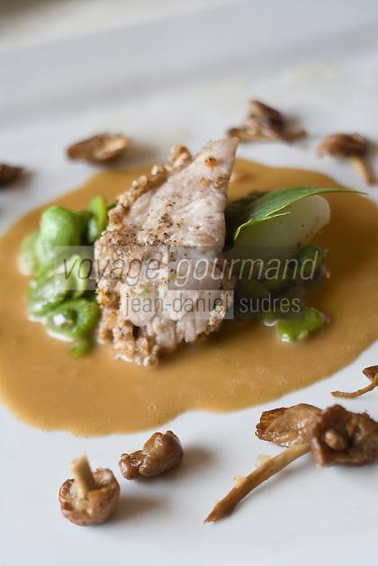 """Europe/France/Normandie/Haute-Normandie/76/Seine-Maritime/Le Bourg Dun:  Ris de veau en Croute de noix, porto et févettes - recette de  Pierre   Chrétien  de l' """"Auberge du Dun"""""""