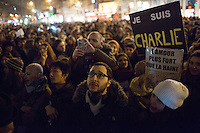 Demonstrators at Place de la Republique following the massacre at Charlie Hebdo in Paris where masked gunmen killed 12 people. Paris, France, (Jan. 7, 2015).