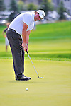 27 August 2009: Phil Mickelson putts during the first round of The Barclays PGA Playoffs at Liberty National Golf Course in Jersey City, New Jersey.