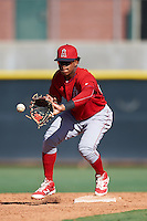 Los Angeles Angels of Anaheim Gleyvin Pineda (23) during an Instructional League game against the Colorado Rockies on October 6, 2016 at the Tempe Diablo Stadium Complex in Tempe, Arizona.  (Mike Janes/Four Seam Images)