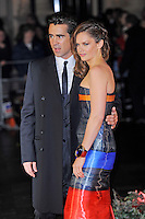 Colin Farrell and Ruth Wilson<br /> attending the 57th BFI London Film Festival Closing Night Gala World Premiere of 'Saving Mr Banks', Odeon Cinema, Leicester Square, London, England. <br /> 20th October 2013<br /> half length black orange blue grey gray  strapless stripe dress cuff bracelet side coat suit <br /> CAP/MAR<br /> © Martin Harris/Capital Pictures