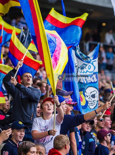 Stockholm 2013-08-18 Fotboll Allsvenskan , Djurg&aring;rdens IF - BK H&auml;cken :  <br /> Djurg&aring;rden supportrar med flaggor i klacken<br /> (Foto: Kenta J&ouml;nsson) Nyckelord:  supporter fans publik supporters flagga