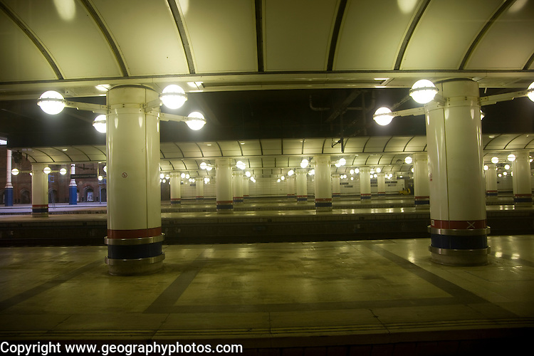 Platform lights, Liverpool Street railway station, London, England