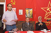 October Revolution Celebrations Southall LDN 2013 Saklatvala Hall -  Venezuelan Embassy official Yon Guerra speaking from platform with His Excellency Comrade Hyon Hak Bong DPRK and  Harpal Brar Chair CPML GB seated