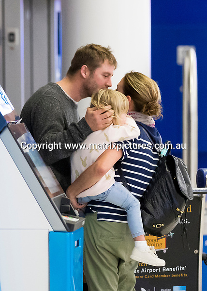 7 JULY 2017 SYDNEY AUSTRALIA<br /> WWW.MATRIXPICTURES.COM.AU<br /> <br /> EXCLUSIVE PICTURES<br /> <br /> Kate Ritchie pictured with daughter Mae on arrival into Sydney from Fiji. Kate and Mae were met at the airport by Stuart Webb who was thrilled to be reunited with his wife and daughter. <br /> <br /> Note: All editorial images subject to the following: For editorial use only. Additional clearance required for commercial, wireless, internet or promotional use.Images may not be altered or modified. Matrix Media Group makes no representations or warranties regarding names, trademarks or logos appearing in the images.