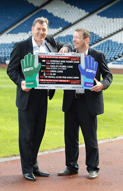 Pat Bonner and Andy Goram at Hampden to launch the new football season on ESPN