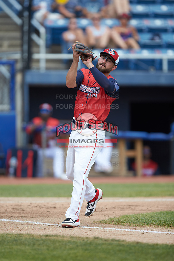 San Bernardos de Salem third baseman Nick Lovullo (6) catches a pop fly during the game against the Winston-Salem Dash at Haley Toyota Field on June 30, 2019 in Salem, Virginia. The Dash defeated the San Bernardos 3-2. (Brian Westerholt/Four Seam Images)