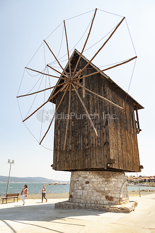 Old wooden windmill on the Isthmus, Nessebar, Bulgaria  June 2015.<br /> CAP/MEL<br /> &copy;MEL/Capital Pictures /MediaPunch ***NORTH AND SOUTH AMERICA ONLY***