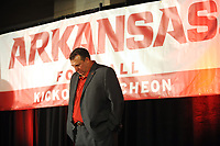 NWA Democrat-Gazette/ANDY SHUPE<br /> Arkansas coach Bret Bielema joins others in a moment of silence Friday, Aug. 18, 2017, for former coach and athletics director Frank Broyles, who died Monday, during the Kickoff Luncheon at the Northwest Arkansas Convention Center in Springdale. Visit nwadg.com/photos to see more photographs from the luncheon.