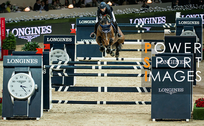 Jessica Mendoza of United Kingdom rides Spirit T in action at the Longines Grand Prix during the Longines Hong Kong Masters 2015 at the AsiaWorld Expo on 15 February 2015 in Hong Kong, China. Photo by Aitor Alcalde / Power Sport Images