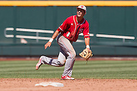 North Carolina State shortstop Trea Turner (8) on defense during Game 3 of the 2013 Men's College World Series between the North Carolina State Wolfpack and North Carolina Tar Heels at TD Ameritrade Park on June 16, 2013 in Omaha, Nebraska. The Wolfpack defeated the Tar Heels 8-1. (Andrew Woolley/Four Seam Images)