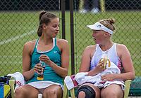 Den Bosch, Netherlands, 13 June, 2017, Tennis, Ricoh Open, Women's doubles: Kelly Versteeg (NED) / Erika Vogelsang (NED) (L)<br /> Photo: Henk Koster/tennisimages.com