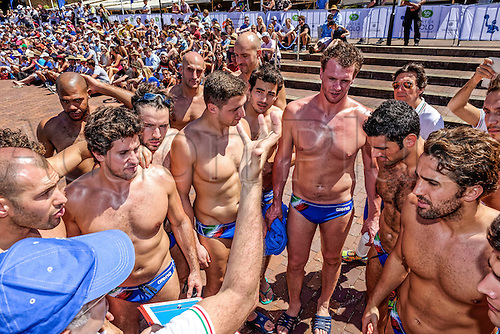 19.12.2015. Italian Head Coach, Allessandro Campagna talks to the team prior to the start of the Mens Australia versus Italy International Water Polo match at Campbell's Cove in Sydney, Australia.