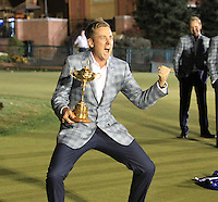 Winning European Team Player Ian Poulter (ENG) after Sunday's Singles Matches of the 39th Ryder Cup at Medinah Country Club, Chicago, Illinois 30th September 2012 (Photo Colum Watts/www.golffile.ie)