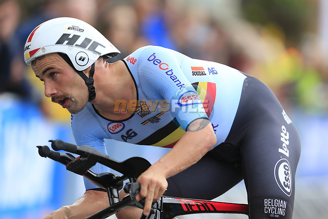 Victor Campenaerts (BEL) in action during the Men Elite Individual Time Trial of the UCI World Championships 2019 running 54km from Northallerton to Harrogate, England. 25th September 2019.<br /> Picture: Eoin Clarke | Cyclefile<br /> <br /> All photos usage must carry mandatory copyright credit (© Cyclefile | Eoin Clarke)