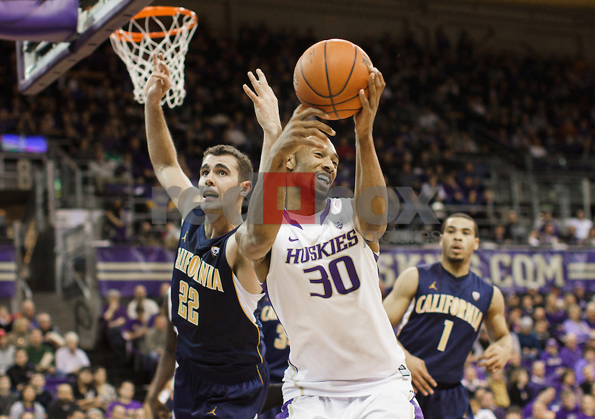 Desmond Simmons..---Washington Huskies men's basketball against the California Golden Bears at Alaska Airlines Arena at Hec Edmundson Pavilion in Seattle on Thursday, January 19, 2012. (Photo by Dan DeLong/Red Box Pictures)