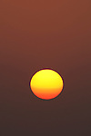 Sun globe at dusk in Pacheca Island. Las Perlas Archipelago, Panama province, Panama, Central America.