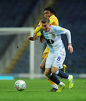 Blackburn Rovers' Joe Rothwell under pressure from Wigan Athletic's Reece James<br /> <br /> Photographer Kevin Barnes/CameraSport<br /> <br /> The EFL Sky Bet Championship - Blackburn Rovers v Wigan Athletic - Tuesday 12th March 2019 - Ewood Park - Blackburn<br /> <br /> World Copyright © 2019 CameraSport. All rights reserved. 43 Linden Ave. Countesthorpe. Leicester. England. LE8 5PG - Tel: +44 (0) 116 277 4147 - admin@camerasport.com - www.camerasport.com