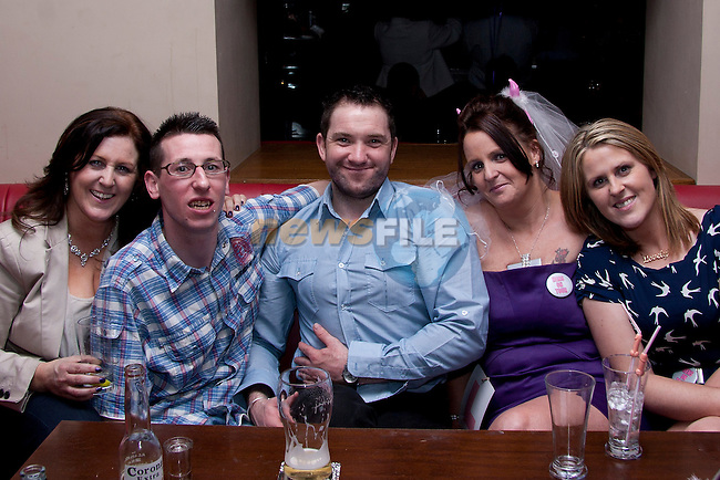 Theresa Kelly Burns, Steven Harrison, Ian Mulroy, Denise McGuirk and Pamela Burns, celebrating with Bride-To-Be Denise, in Bru..Picture: Shane Maguire / www.newsfile.ie.