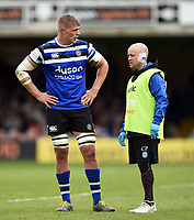 Tom Ellis and Cerian Parham of Bath Rugby. Gallagher Premiership match, between Bath Rugby and Wasps on May 5, 2019 at the Recreation Ground in Bath, England. Photo by: Patrick Khachfe / Onside Images