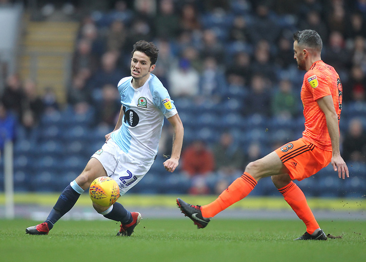 Blackburn Rovers Hope Akpan in action with Ipswich Town's Cole Skuse<br /> <br /> Photographer Mick Walker/CameraSport<br /> <br /> The EFL Sky Bet Championship - Blackburn Rovers v Ipswich Town - Saturday 19 January 2019 - Ewood Park - Blackburn<br /> <br /> World Copyright © 2019 CameraSport. All rights reserved. 43 Linden Ave. Countesthorpe. Leicester. England. LE8 5PG - Tel: +44 (0) 116 277 4147 - admin@camerasport.com - www.camerasport.com